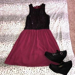 Socialite Maroon Black Lace & Sequin Dress